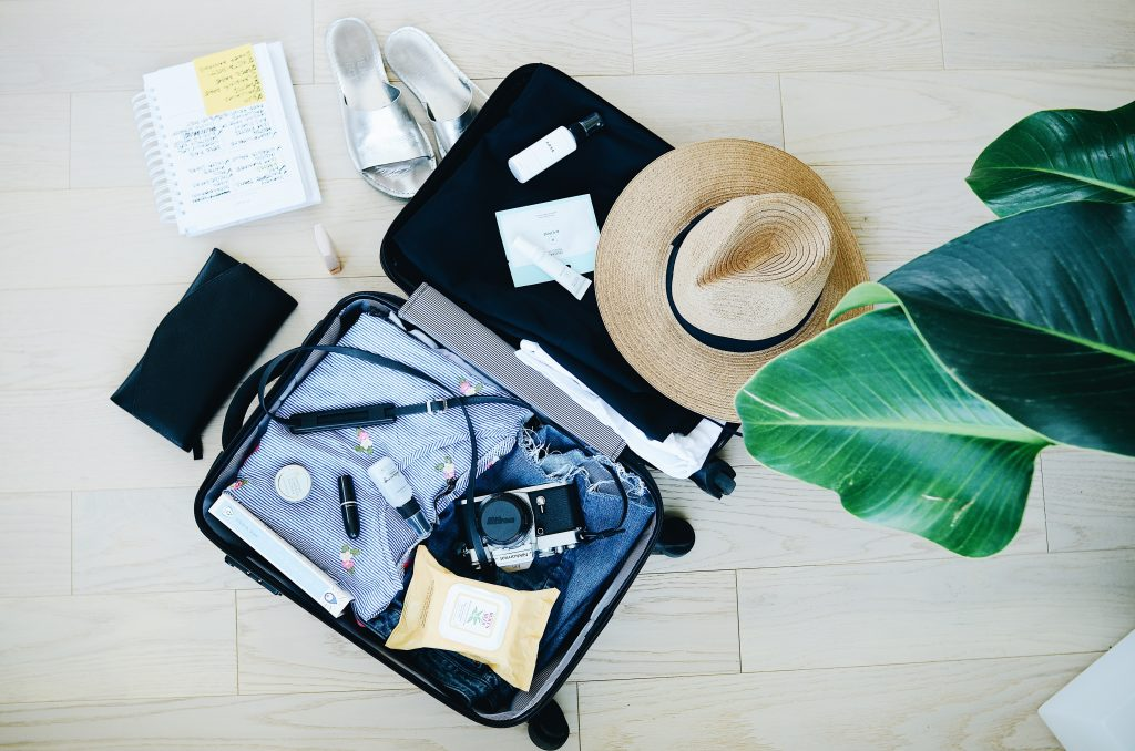 Travel agent - planning travel -suitcase packing